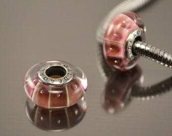 Lampwork beads for european bracelet, Handmade Lampwork European Charm Bracelet Bead, salmon stripes, european lampwork charm beads