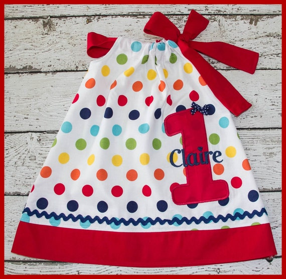 Rainbow Polka dot Birthday Pillowcase style dress name and age included