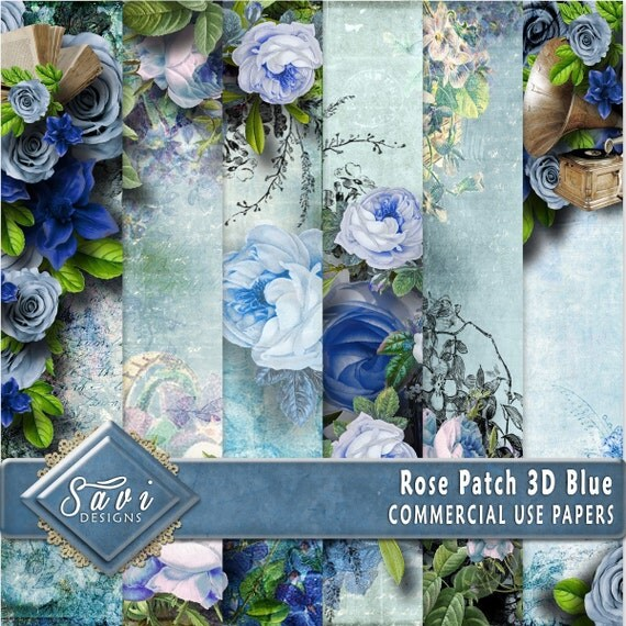 CU Commercial Use Background Papers set of 6 for Digital Scrapbooking or Craft projects Rose Patch Blue, 3D Papers, Designer Stock Papers