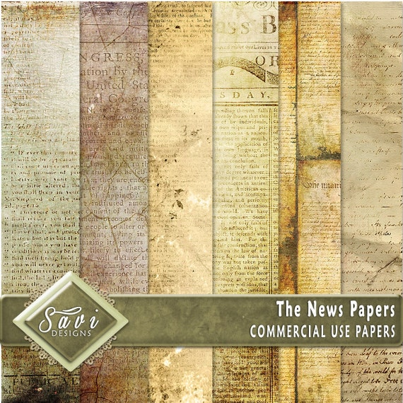 CU Commercial Use Background Papers set of 6 for Digital Scrapbooking or Craft projects NEWS PAPERS, Designer Stock Papers