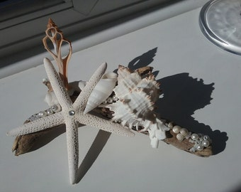Starfish Driftwood Wedding Centerpiece/CoastalSeashell Ornament with Pearls and Crystals.