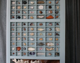 Beachcombers Treasures is a repurposed Printers/Letter press tray filled with beach combing finds. Sea shell Display Collage Mixed Media