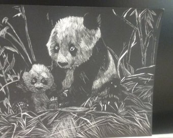 Panda black and white print