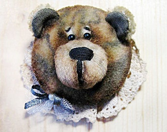 Teddy Bear Brooch, vintage, cute Brooch, animal brooch, Bear lovers gift, Bear brooch, gift for women, Bear pin, Girlfriend gift