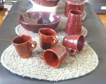 Vintage BROWN STONEWARE Pottery – USA Made – Lot