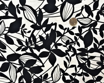 black and white floral linen blend fabric.
