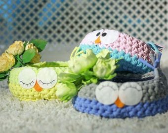 Knitted baskets owl,knitted basket,storage space,basket for storage,cotton basket, eco shopping cart, basket for children