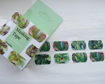 Green Leaves Adhesive Decorating Tape / Green Masking Washi Tape