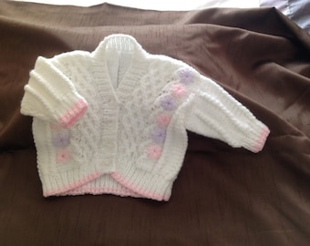 White Hand Knitted Flower Panel Cardigan