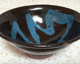 Handmade stoneware pottery bowl, ceramic stoneware serving bowl with black & turquoise glazes