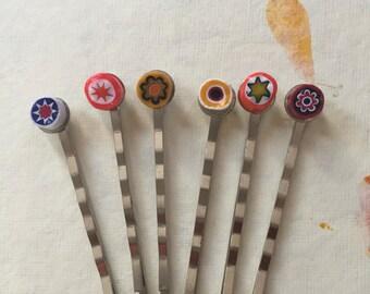 Millefiori hair pins / bobby pins set of 6