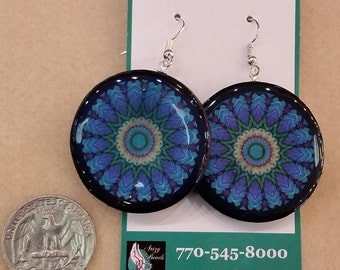 Mandala earrings, mandala, blue earrings, earrings, mandalas