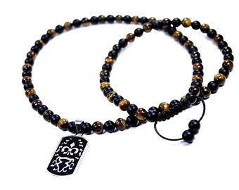 Mens Tiger Eye Necklace, Matte Black Onyx Necklace, Mens Necklace Beaded, Brown Tiger Eye Necklace for Men, Handmade Men's Beaded Jewelry