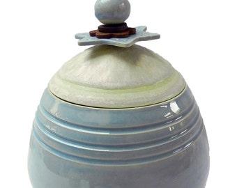 Thrown Ceramic pot with decorative lid details