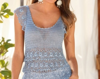Ladies blue blouse crochet / custom