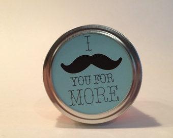 "I ""mustache"" for more Mason Jar Topper/bridal/shower/wedding/engagement/birthday/party/favor"