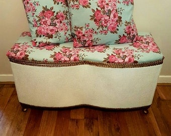 White Lloyd Loom Kraft Ottoman Restored 1950s Bedding Box & 2 Matching Cushions