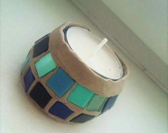 Turquoise tiled candle holder