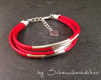 Leather Bracelet silver Red