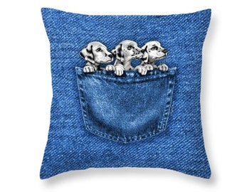 Puppies In A Pocket Throw Pillow