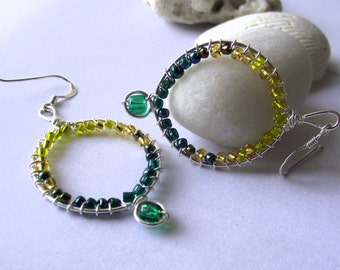 Autumn Ombre Silver Wire Hoop Earrings - Green & Yellow Forest Theme