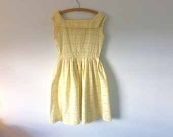 1950s 50s vintage lemon sherbet yellow sun dress broderie anglais eyelet full skirt lace cotton