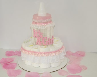 Baby Girl Baby Shower Centerpiece Bottle Diaper Cake w/ Pearls & Lace, It's a Girl, Pink White Welcome Baby Gift