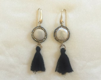 Mother of pearl earrings and tassels
