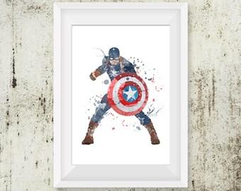 Captain america poster, Watercolor Art captain america, Print nursery Wall decor, Watercolour Print captain america, Superhero Poster