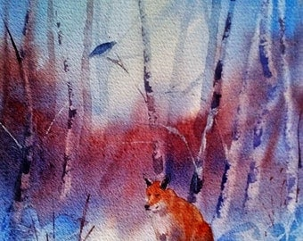 Original watercolour painting of a fox in the snow by Shari Hills