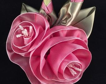 Pink Taffeta Flower Corsage Pin or Hair Accessory