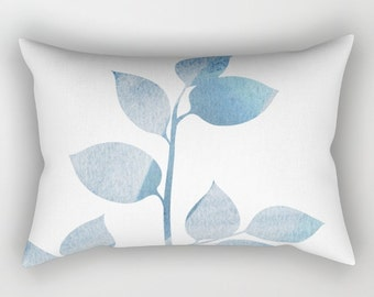 Leaves 2 Blues-  Rectangular Lumbar Pillow