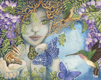 Earth Woman Original Watercolor Paintings Giclee Canvas Prints, gaia mother butterfly flowers hummingbird children's art chipmunk nature