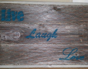 Reclaimed Wood Wall Art - Live Laugh Love