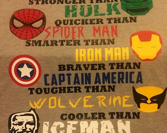 Daddy superhero t-shirt! Hulk, Spiderman, Iron Man, Captain America, Wolverine, Iceman.
