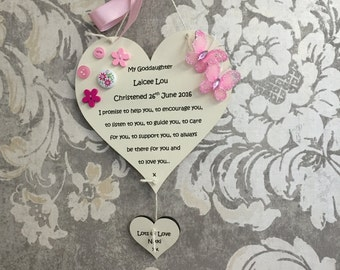 Personalised christening plaque our/my goddaughter godson heart star