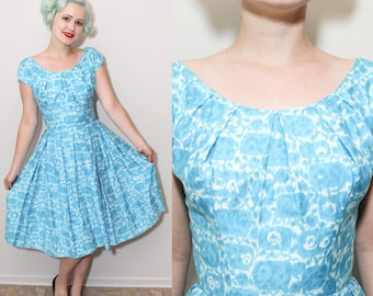 1950's Blue & White Printed Polished Cotton Dress | Scoop Neck | Pleated Full Skirt | XS