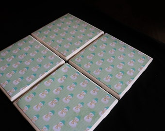 Snowman Coasters ~ Holiday Coasters ~ Tile Coasters ~ Handmade Coasters ~ Teacher Gift ~ Tile Coasters ~ Coasters for Drinks - Winter Decor