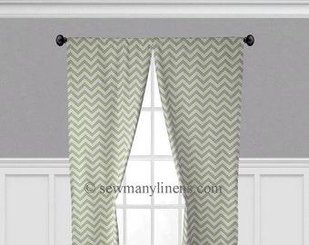 Olive Pea Green Curtains Zig Zag Chevron Curtain Panels Window Treatments Valance Green Custom Drapes Living Room Nursery