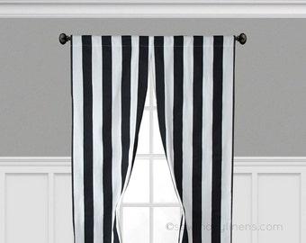 Black Stripe Curtains Vertical Window Treatments Black and White Curtain Panels Valance Set Pair Modern Home Decor
