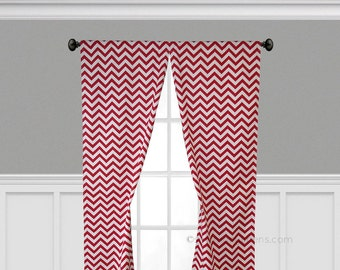 Red Curtains Chevron Stripe Curtain Panels Window Treatments Custom Drapes Kitchen Living Room Decor Red Drapery
