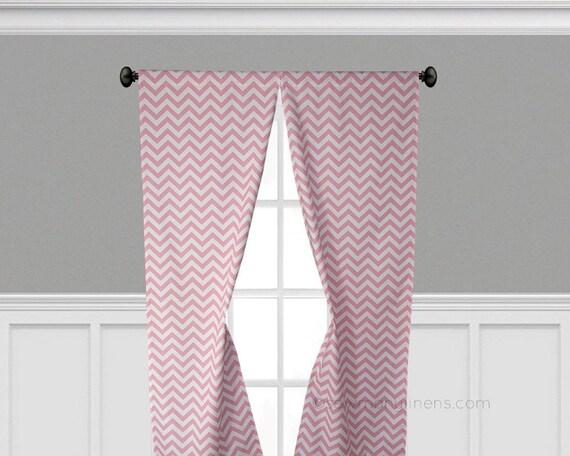 Baby pink curtains chevron stripe window treatments pink nursery decor