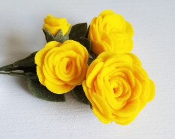 Yellow Rose Bouquet / Felt Flower Bouquet / Wedding Bouquet / Bridesmaid
