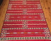 Berber Tribal Handmade Moroccan Kilim Rug Carpet Flat Woven Embroidered Moroccan Area Rug 200x124 Moroccan Rug Wool Kilim Flatwoven Handmade