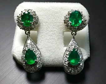 18k White Gold Diamond and Colombian Emerald Earrings