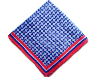 Blue and Red Silk Pocket Square