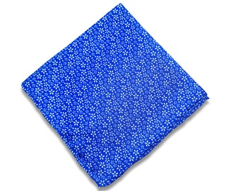 Blue Floral Silk Pocket Square