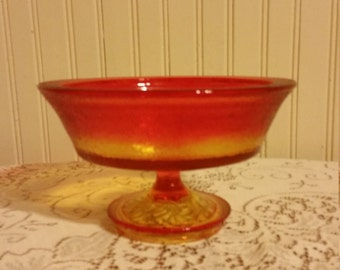 Vintage Ombre yellow and orange pedestal bowl-beautiful and very heavy!