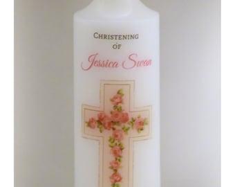 Flower cross Christening candle