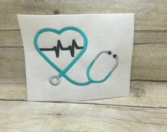 Stethoscope Embroidery Design, Stethoscope Heartbeat Embroidery Design